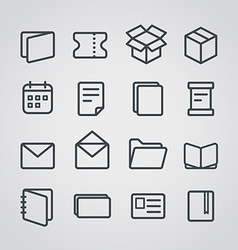 Different paper stuff icons collection vector