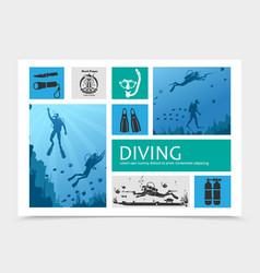 diving elements composition vector image