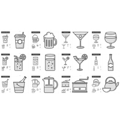Drinks line icon set vector image
