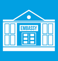 Embassy icon white vector