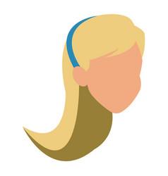 Faceless woman head blonde diadem vector