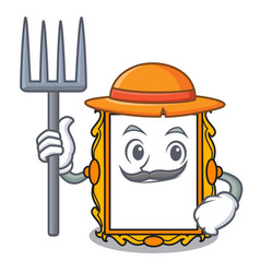 Farmer picture frame character cartoon vector