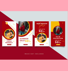 fashion instagram stories template collection vector image
