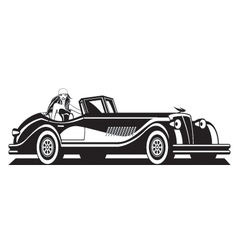 fashion model and classic car vector image