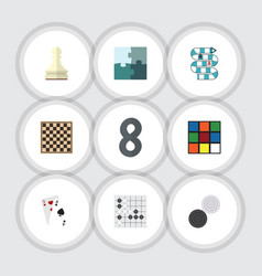 flat icon games set of jigsaw gomoku chess table vector image