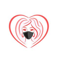 Girl in a medical mask vector