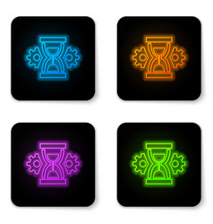 glowing neon hourglass and gear icon isolated on vector image