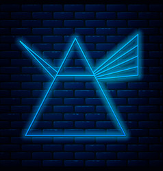 glowing neon line light rays in prism icon vector image