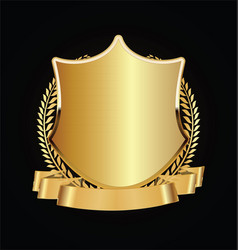 Gold and black shield with gold laurels 03 vector