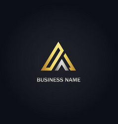 gold triangle shape business logo vector image