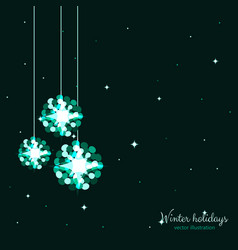 Green shine holidays balls with stars background vector