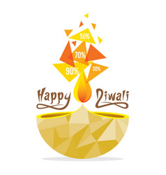 happy diwali greeting with offers design vector image