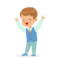 happy smiling little boy in elegant clothes vector image