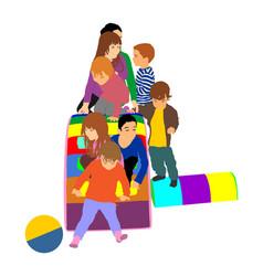happy toddler children slide down at toboggan vector image