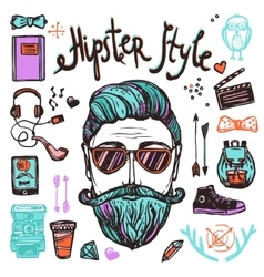 Hipster Cartoon Sketch Concept vector image