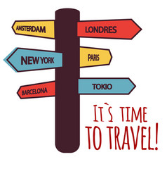 its time to travel guide post background im vector image