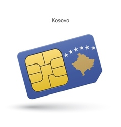 Kosovo mobile phone sim card with flag vector