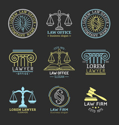 Law office logos set with scales of justicegavel vector