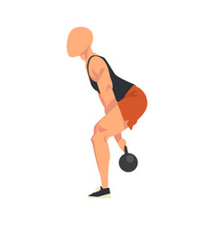 Man doing squats with kettlebell male athlete vector
