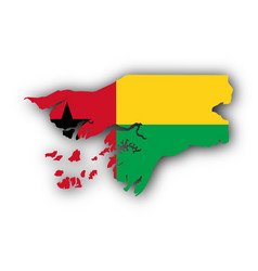 map and flag of guinea-bissau vector image