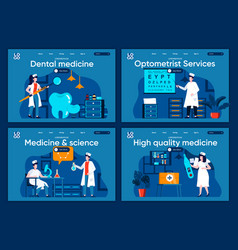 Medicine and science flat landing pages set vector
