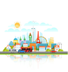 modern cityscape with different vehicle travel vector image