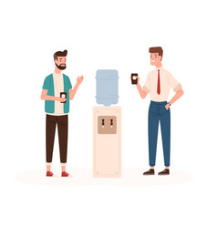 Office workers and water cooler flat vector