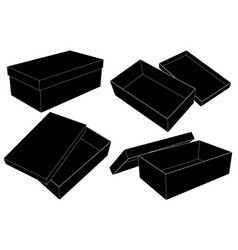 open storage boxes black outline drawing vector image