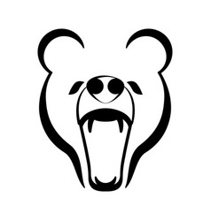 outline of a bear roaring vector image