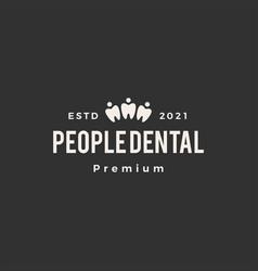 people dental hipster vintage logo icon vector image