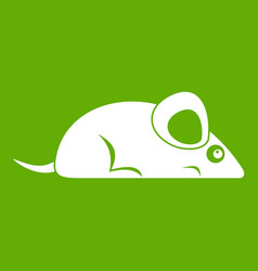 Pet mouse icon green vector