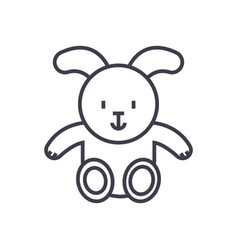 rabbit baby line icon sign vector image