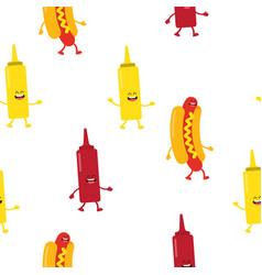 seamless pattern with hot dogs and sauce vector image