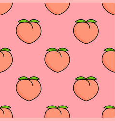 seamless pattern with pink peaches and leaves vector image