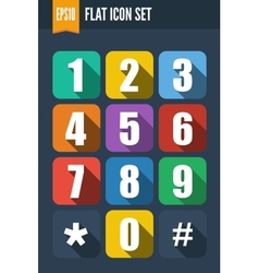 set flat icons with drop shadow vector image