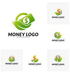 set of green money logo design concept coin with vector image