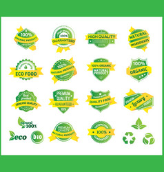 set of natural premium quality labels vector image