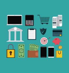 set of online shopping icons vector image
