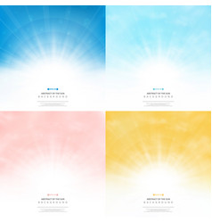 Set sun background with colors style pattern sky vector