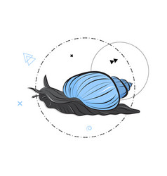 Snail with blue shell slow move modern vector