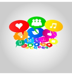 Social network icons on thought bubbles colors vector