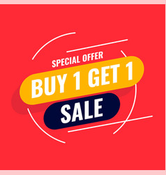 Special offer buy one get one sale template vector