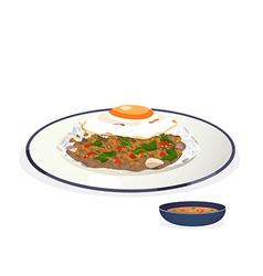 Stir fried pork vector