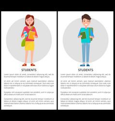 Students stylish school girl handbag boy rucksack vector