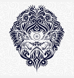Stylized wolf floral in ethnic vector