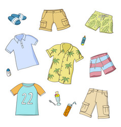 Summer men and boys clothes set colorful vector