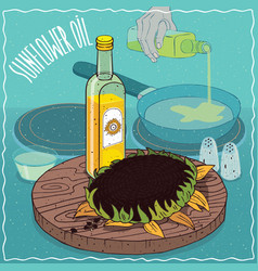 sunflower oil used for frying food vector image