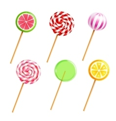 Sweets Lollipops Candies Realistic Icons Set vector image