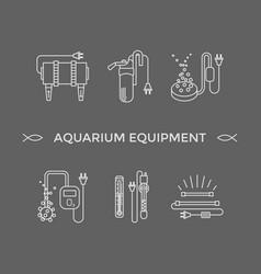 Thin line icons - aquarium equipment vector