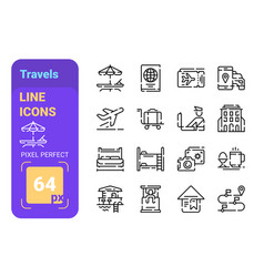 travels line icons set vector image